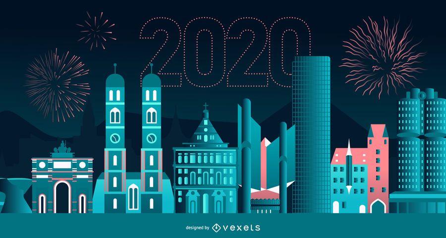 Happy 2020 München Skyline Banner Design