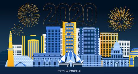 Happy 2020 Delhi Skyline Banner Design
