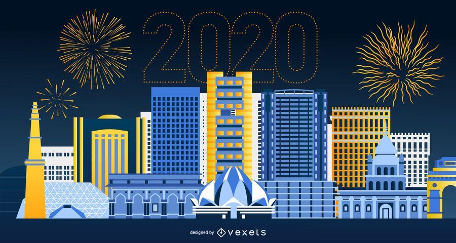 Happy 2020 Delhi Skyline Banner Design
