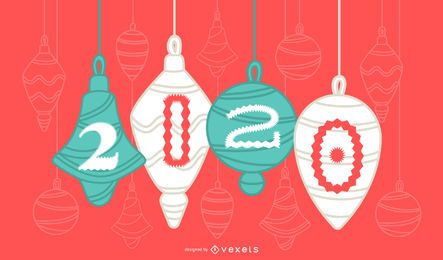 Happy 2020 Christmas Ornament Banner Design