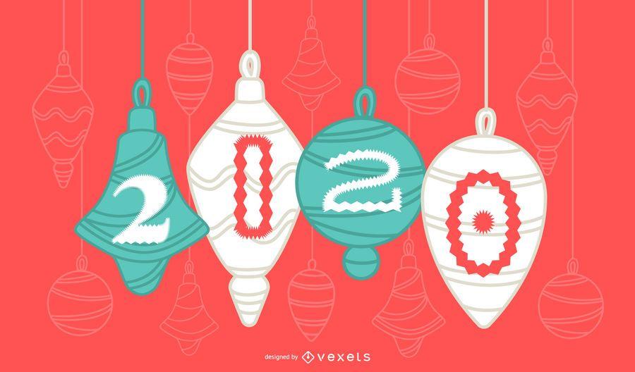 Glückliches 2020 Weihnachtsverzierungs-Fahnen-Design