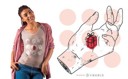 Design de t-shirt para presente de mão