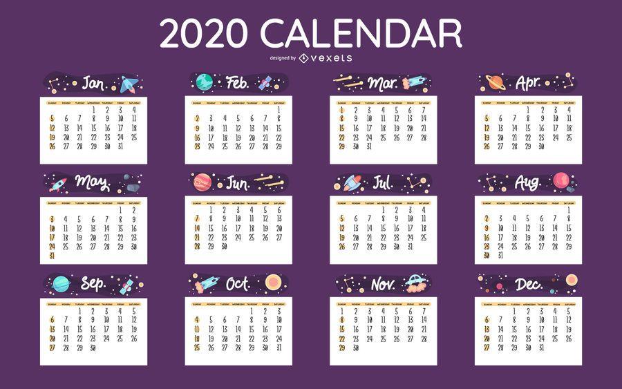 Diseño de calendario espacial 2020