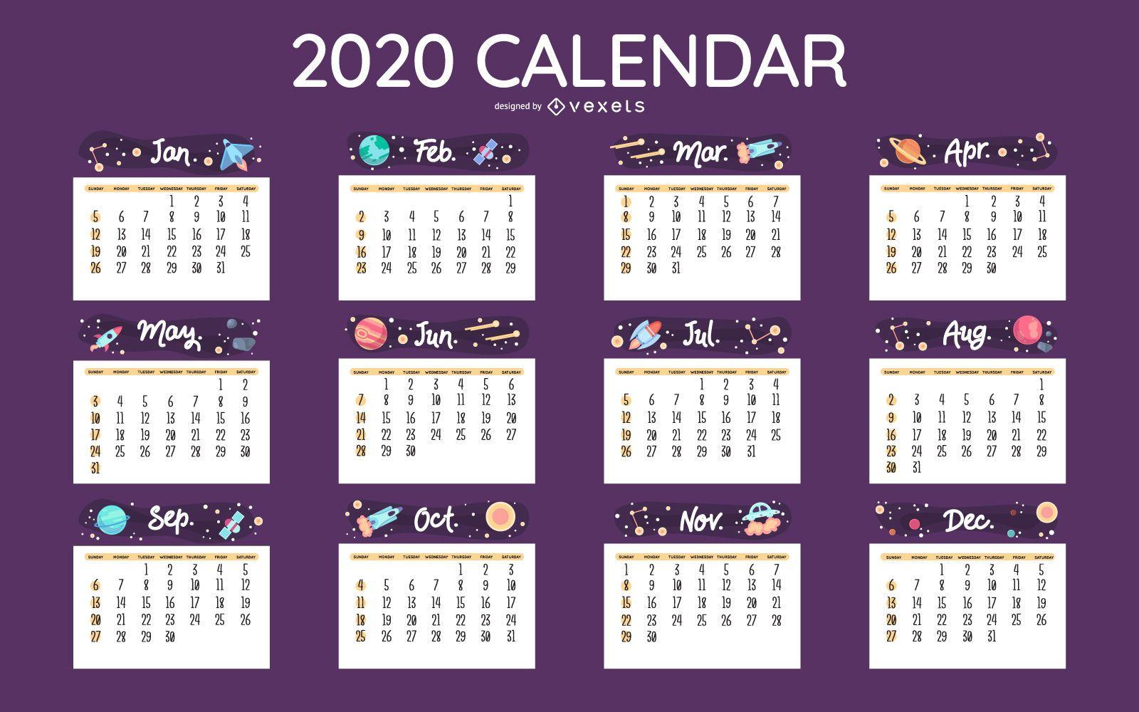 Space calendar 2020 design