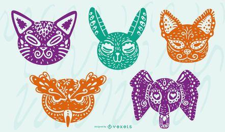 Conjunto de diseño coloreado de animales Alebrije