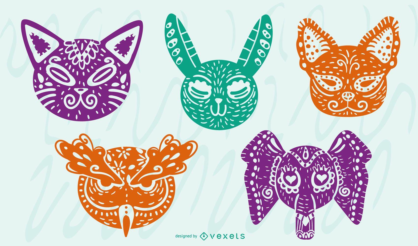 Alebrije Animals Colored Design Set