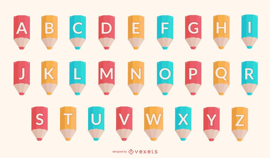 Conjunto de alfabeto de lápices escolares