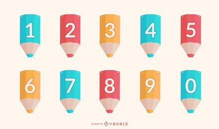 Conjunto de números de lápices escolares