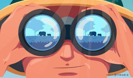 Ilustração de pessoas safari animais manchados