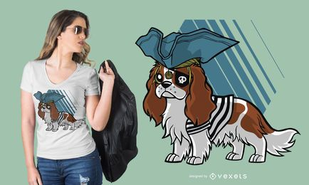 Design descuidado do t-shirt do pirata do rei Charles Spaniel