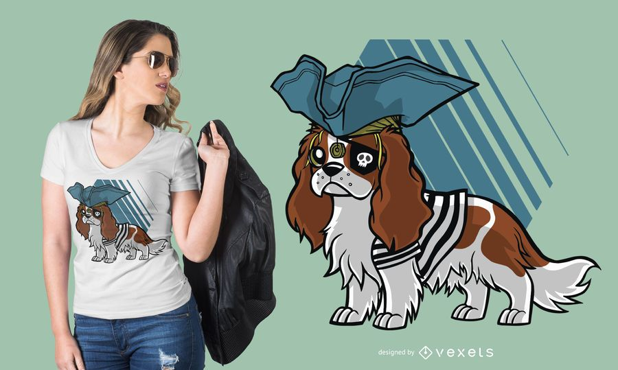 Cavalier King Charles Spaniel Pirate T-shirt Design
