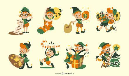 Conjunto de caracteres de duende navideño