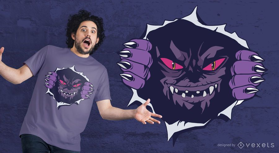 Design de t-shirt de monstro no peito