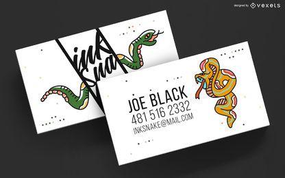 Plantilla de artista de tatuaje de tarjeta de visita
