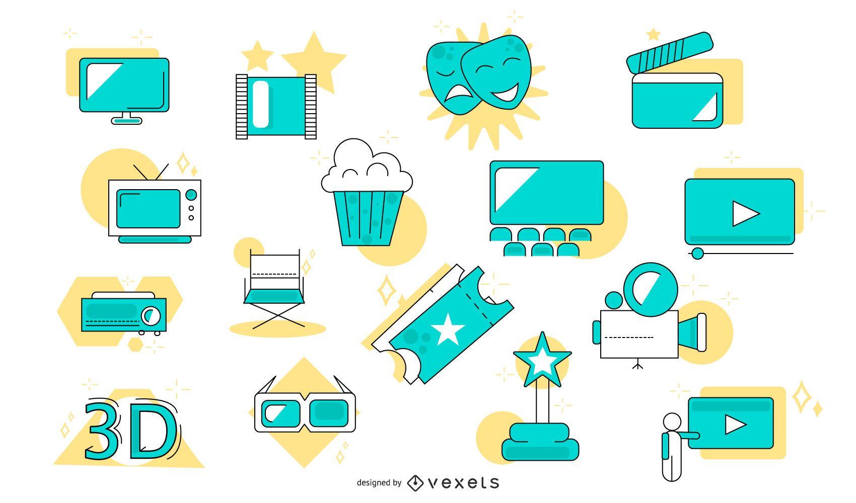 Conjunto de elementos de estilo plano de cinema