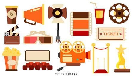 Paquete de diseño plano de elementos de cine