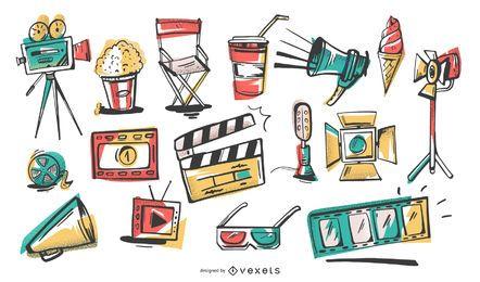 Conjunto de ilustración de elementos de cine