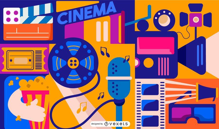 Diseño de composición de elementos de cine