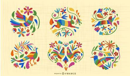 Conjunto de diseño de animales de estilo otomí mexicano