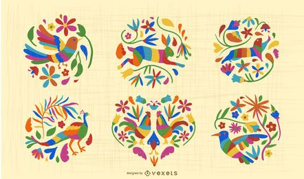 Mexikanische Otomi Style Animal Design Set