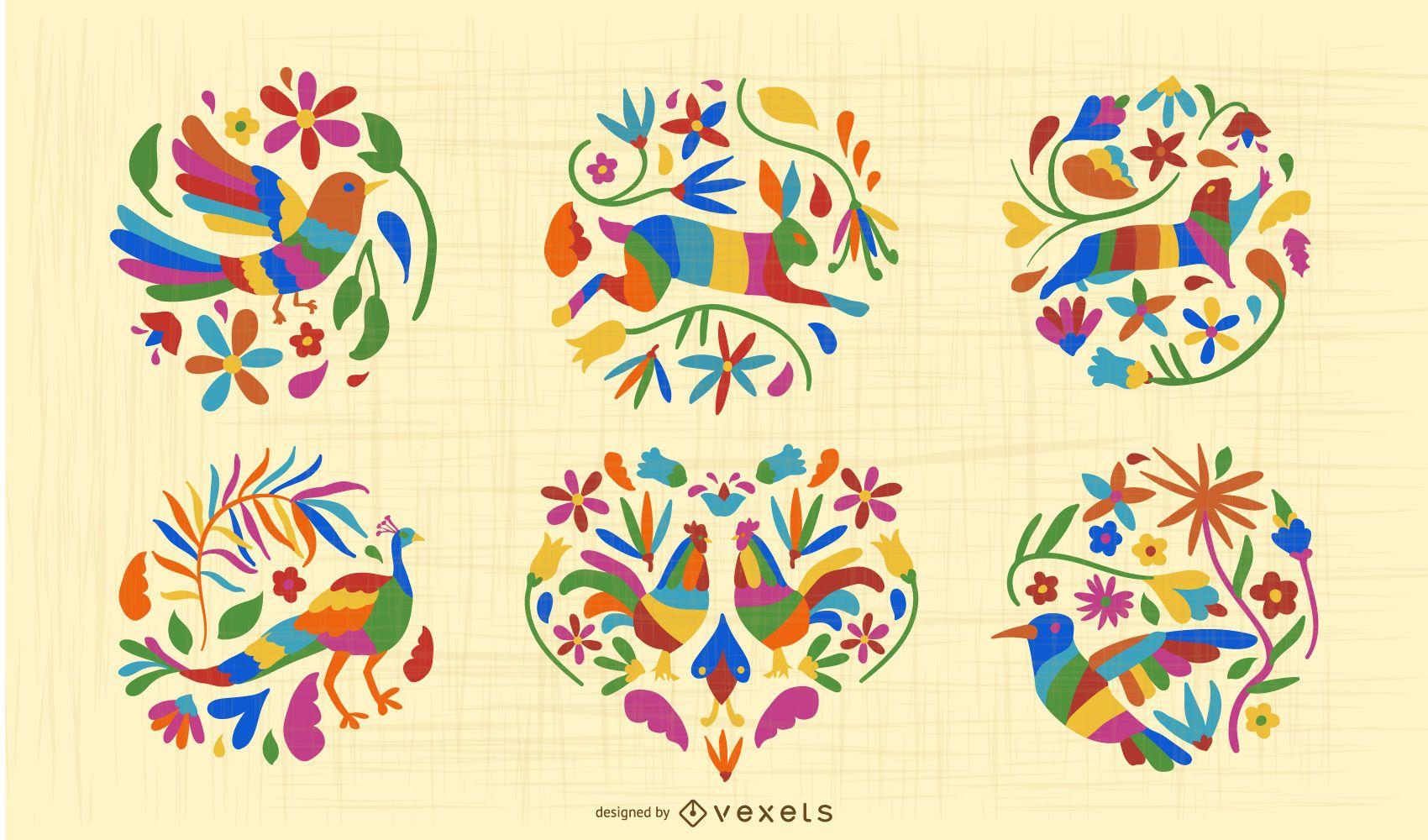 Mexican Otomi Style Animal Design Set