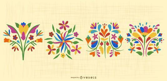 Paquete de diseño de flores otomíes mexicanas