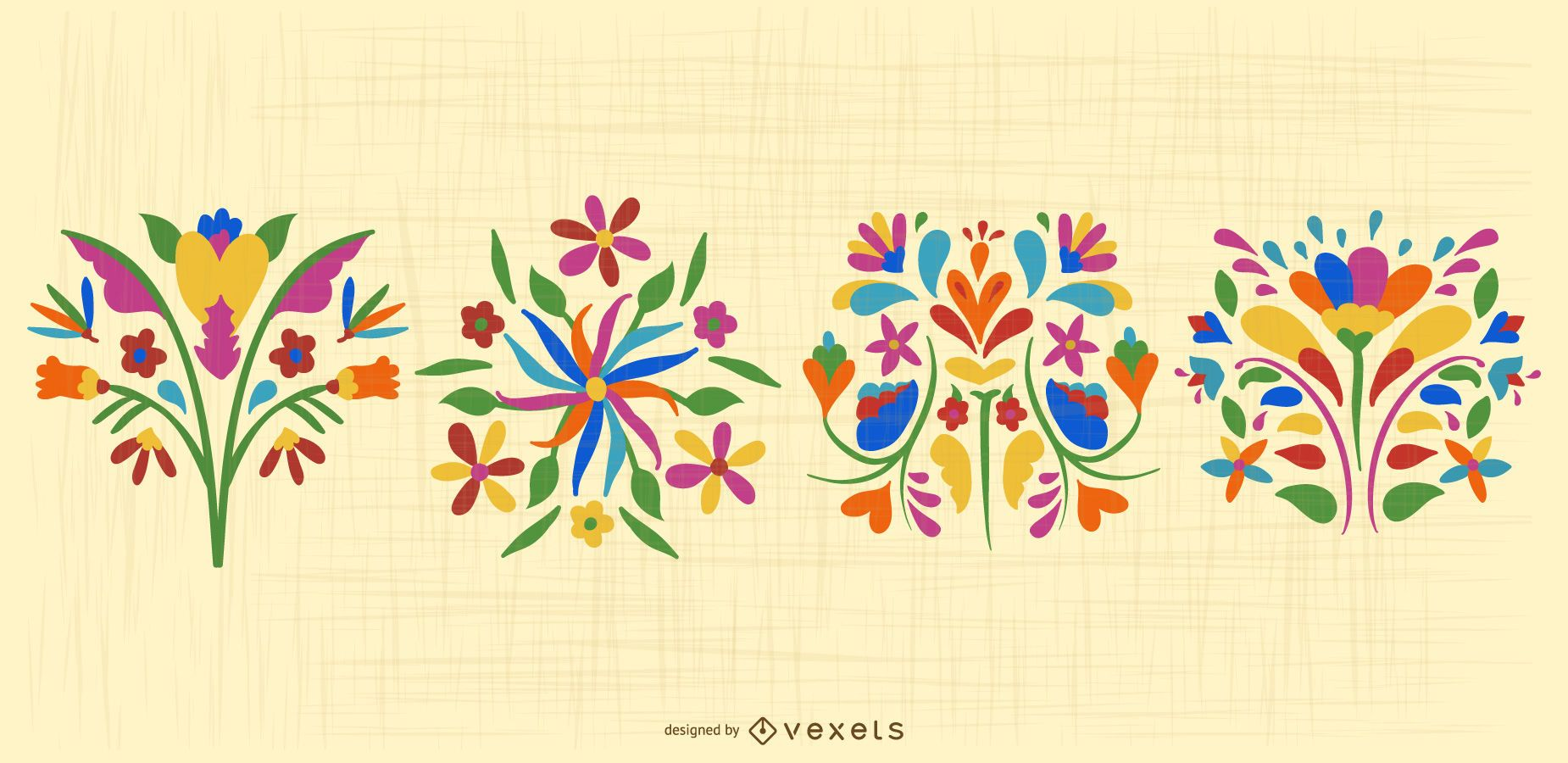 Mexican Otomi Flower Design Pack