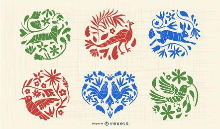 Conjunto de silueta animal otomí mexicano