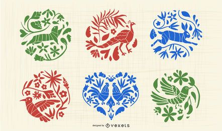 Mexican Otomi Animal Silhouette Set