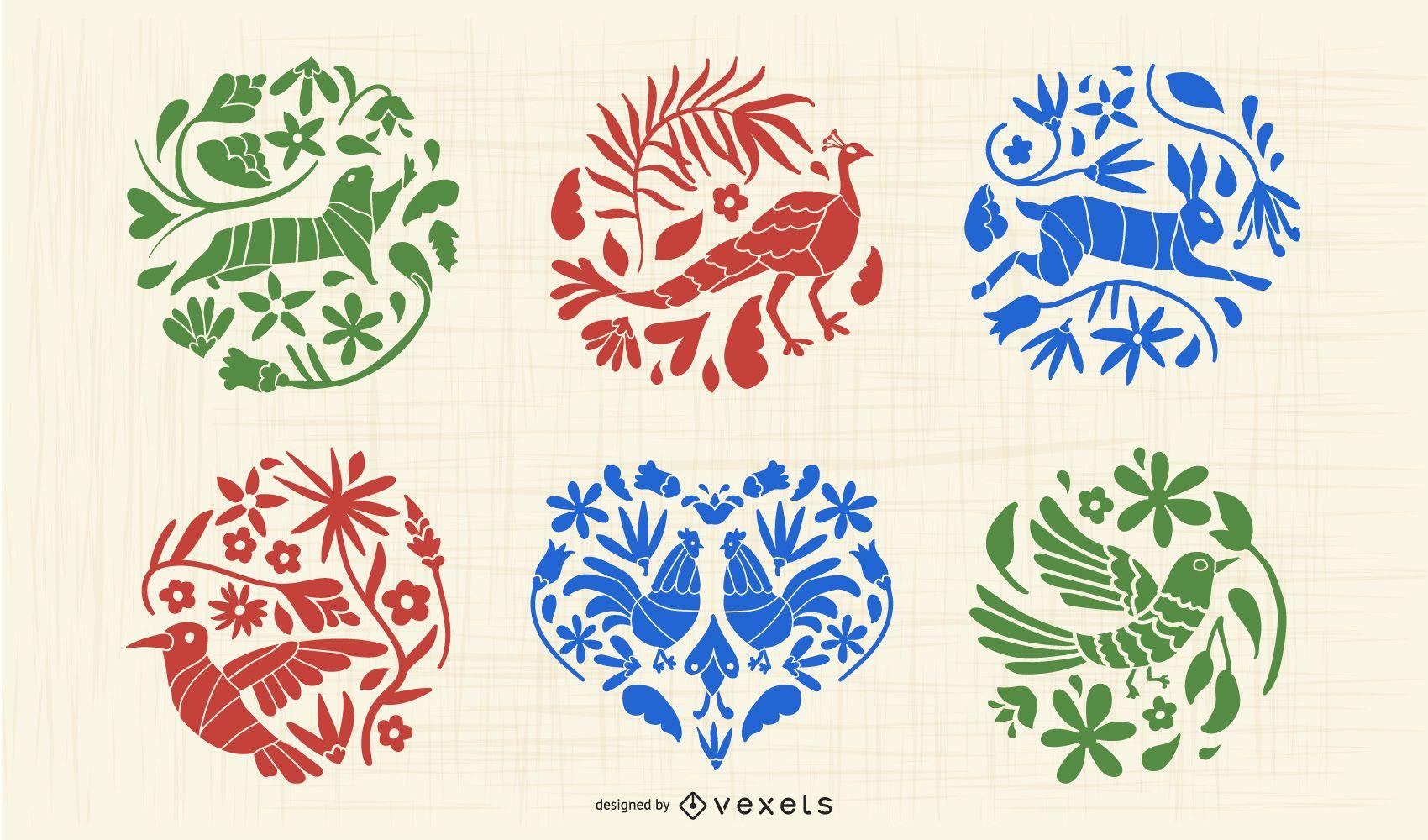 Conjunto de silueta de animal otomí mexicano