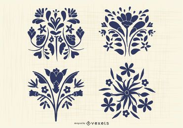 Mexican Otomi Style Flower Silhouette Pack