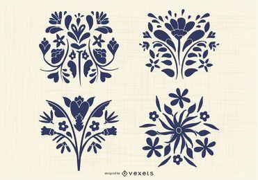 Pacote de silhuetas de flores estilo Otomi mexicano