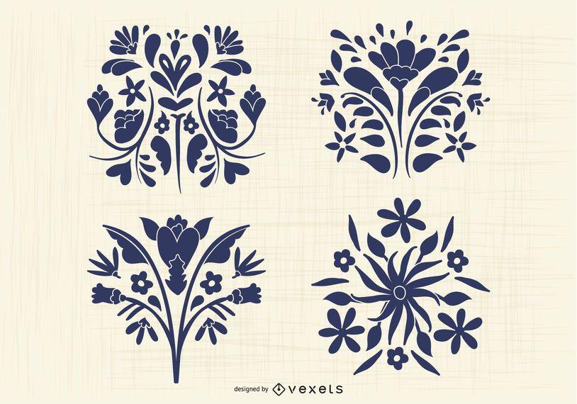 Paquete de silueta de flores de estilo otomí mexicano