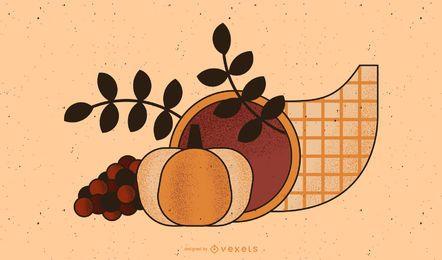 Ilustración de cuerno de la abundancia de acción de gracias