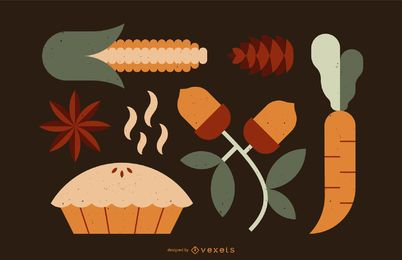 Thanksgiving flat elements set