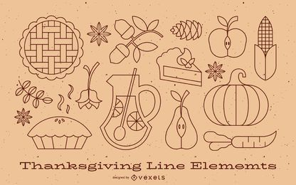 Coleção de elementos de linha de ação de Graças