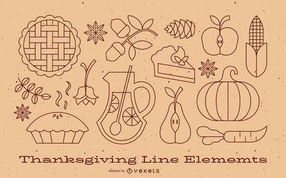 Colección de elementos de línea de acción de gracias