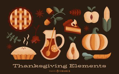 Thanksgiving elements textured set