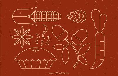 Conjunto de comida de linha de ação de Graças