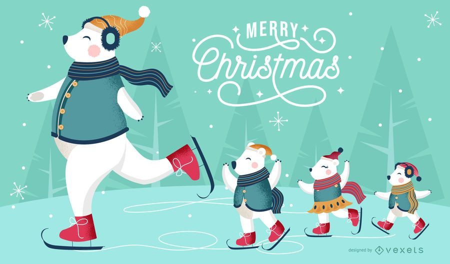 Diseño de fondo de Navidad osos polares