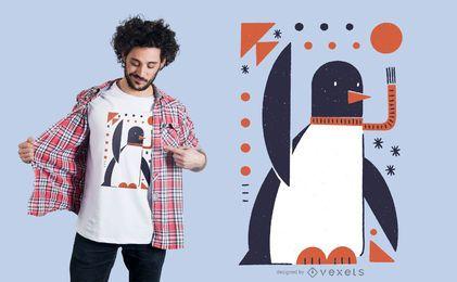 Diseño de camiseta de pingüino geométrico