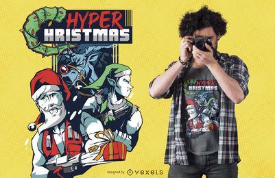 Diseño de camiseta Hyper Christmas