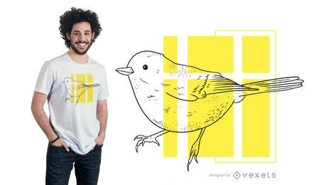 Design de t-shirt pequeno pássaro