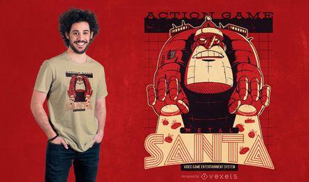 Diseño de camiseta de santa de metal