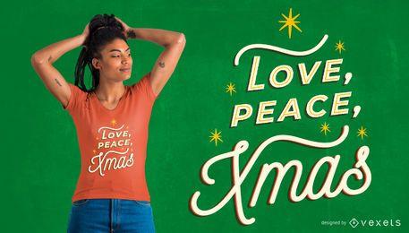 Amor paz xmas design de t-shirt