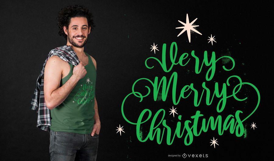 Diseño de camiseta muy feliz navidad