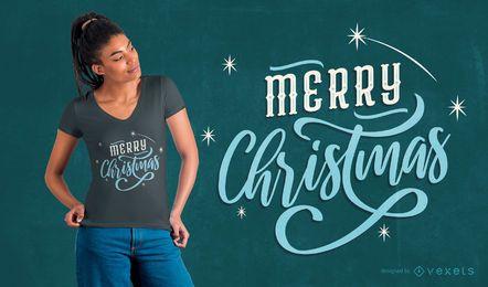 Diseño de camiseta de letras navideñas