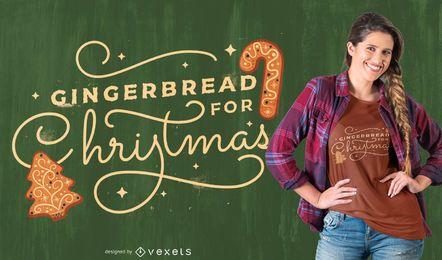 Diseño de camiseta navideña de pan de jengibre