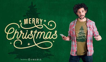 Diseño de camiseta de cotización de árbol de Navidad