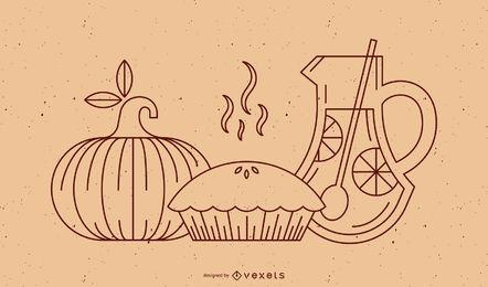 Elementos de comida de linha de ação de Graças